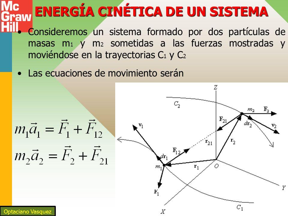 ENERGÍA CINÉTICA DE UN SISTEMA Consideremos un sistema formado por dos partículas de masas m 1 y m 2 sometidas a las fuerzas mostradas y moviéndose en