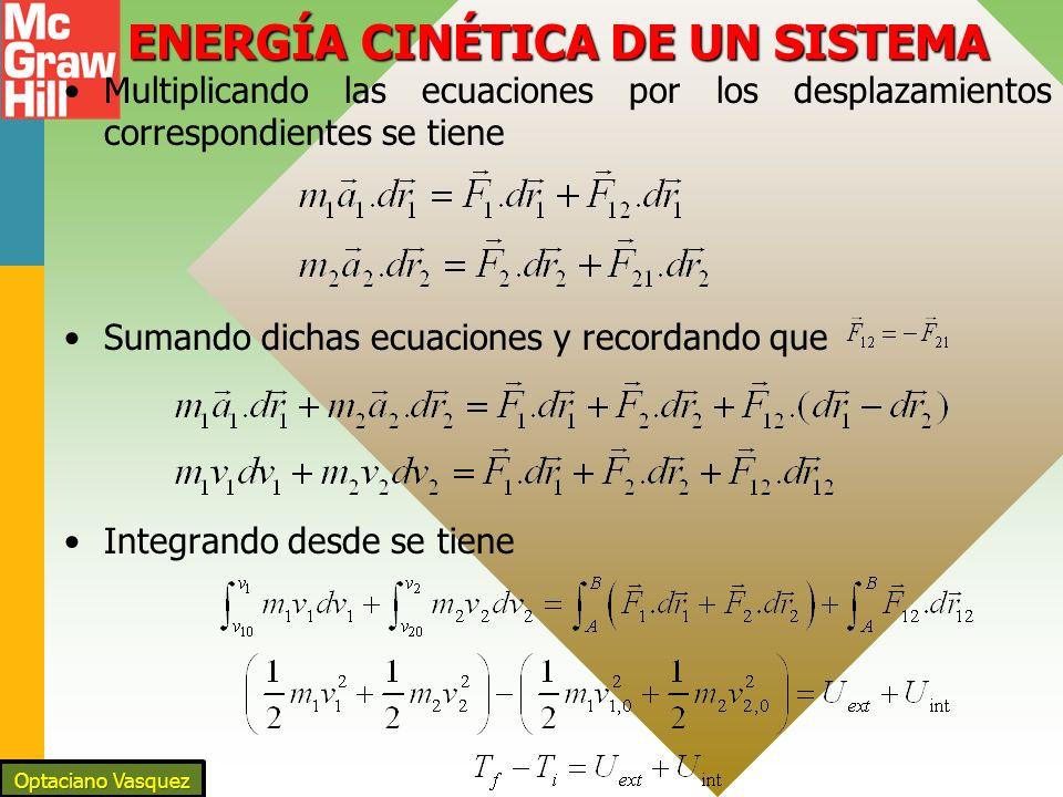 ENERGÍA CINÉTICA DE UN SISTEMA Multiplicando las ecuaciones por los desplazamientos correspondientes se tiene Sumando dichas ecuaciones y recordando q