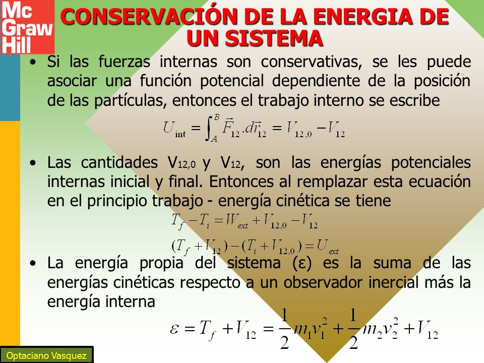CONSERVACIÓN DE LA ENERGIA DE UN SISTEMA Si las fuerzas internas son conservativas, se les puede asociar una función potencial dependiente de la posición de las partículas, entonces el trabajo interno se escribe Las cantidades V 12,0 y V 12, son las energías potenciales internas inicial y final.