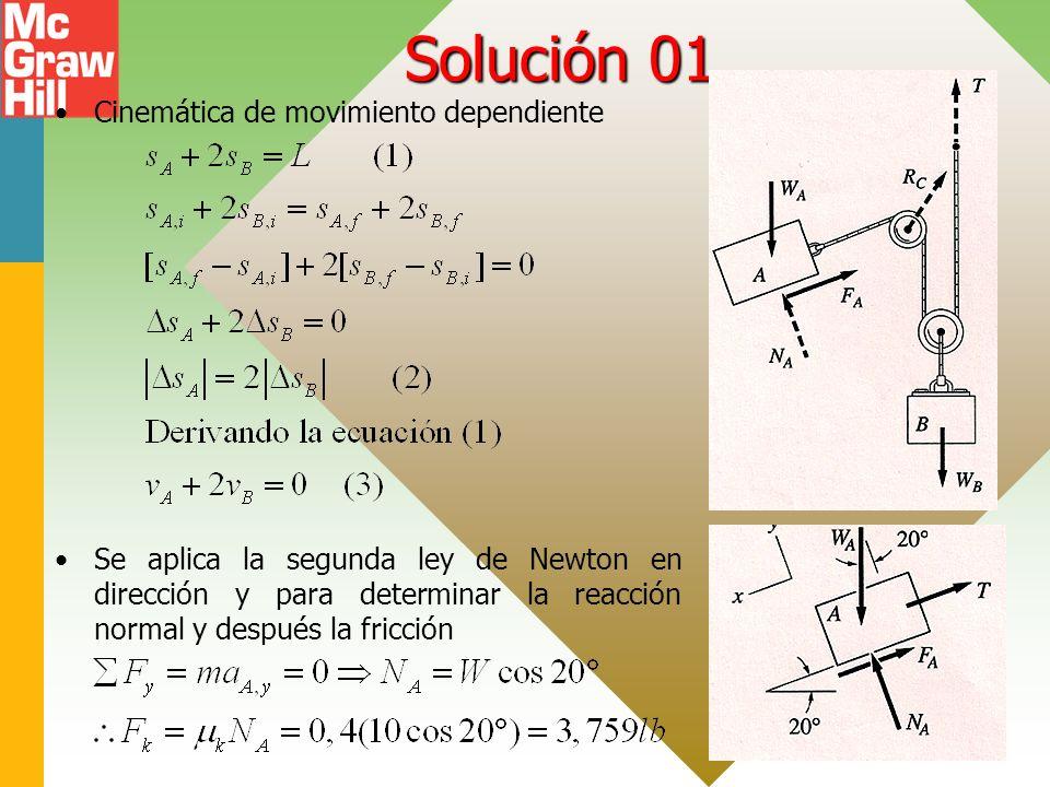 Solución 01 Cinemática de movimiento dependiente Se aplica la segunda ley de Newton en dirección y para determinar la reacción normal y después la fricción