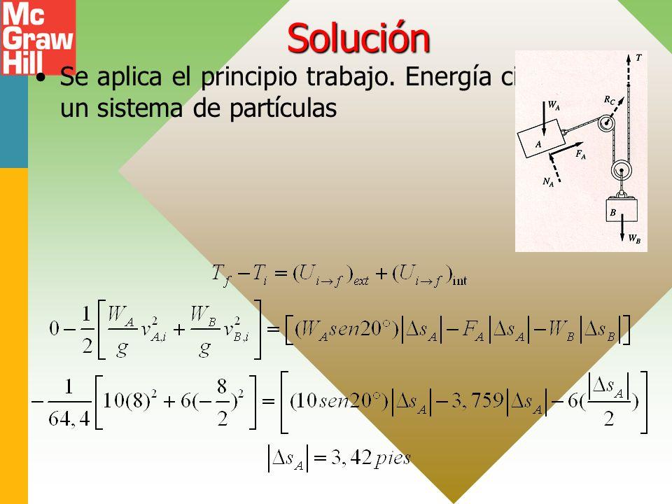 Solución Se aplica el principio trabajo. Energía cinética para un sistema de partículas