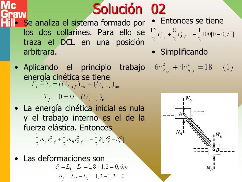 S olución 02 Se analiza el sistema formado por los dos collarines. Para ello se traza el DCL en una posición arbitrara. Aplicando el principio trabajo