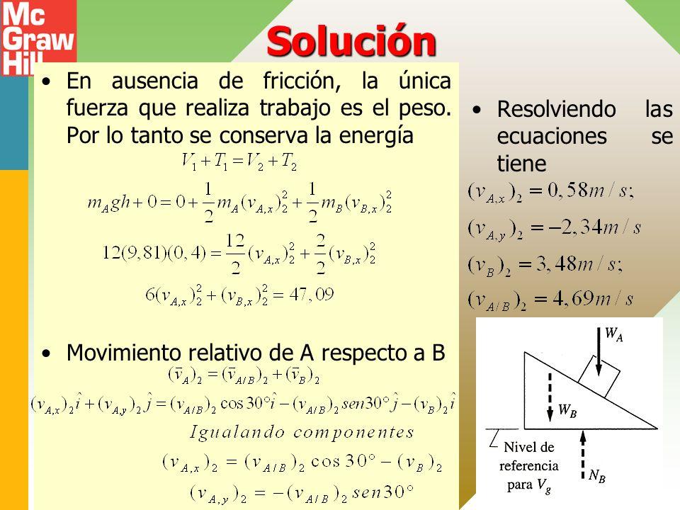 Solución En ausencia de fricción, la única fuerza que realiza trabajo es el peso. Por lo tanto se conserva la energía Movimiento relativo de A respect