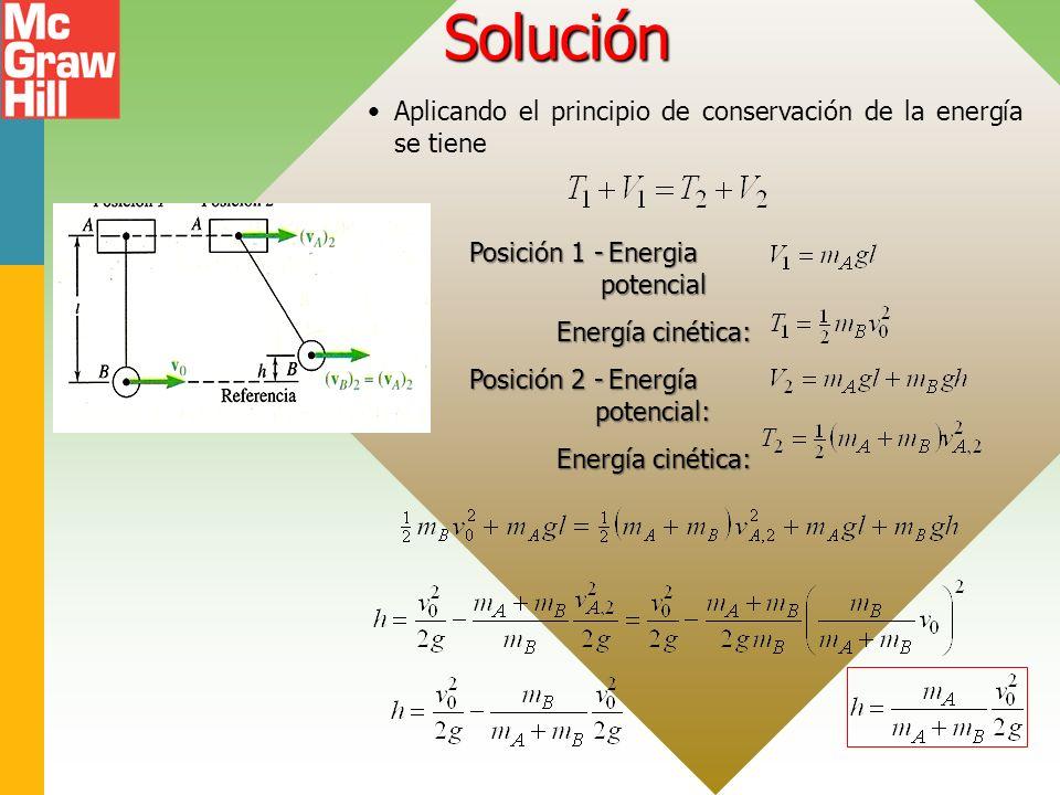 Solución Aplicando el principio de conservación de la energía se tiene Posición 1 -Energia potencial Energía cinética: Posición 2 -Energía potencial: