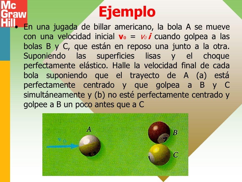 Ejemplo En una jugada de billar americano, la bola A se mueve con una velocidad inicial v 0 = v 0 i cuando golpea a las bolas B y C, que están en reposo una junto a la otra.