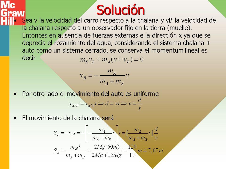 Solución Sea v la velocidad del carro respecto a la chalana y vB la velocidad de la chalana respecto a un observador fijo en la tierra (muelle). Enton