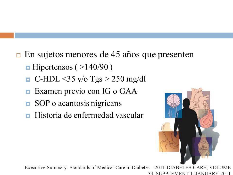 En sujetos menores de 45 años que presenten Hipertensos ( >140/90 ) C-HDL 250 mg/dl Examen previo con IG o GAA SOP o acantosis nigricans Historia de e