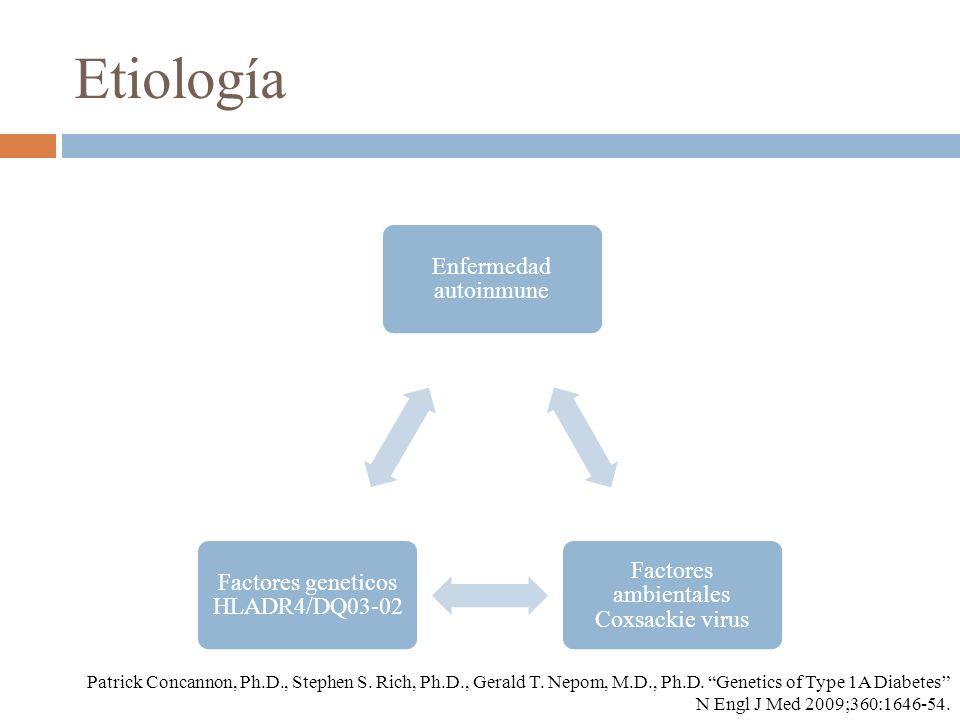 Etiología Enfermedad autoinmune Factores ambientales Coxsackie virus Factores geneticos HLADR4/DQ03-02 Patrick Concannon, Ph.D., Stephen S. Rich, Ph.D