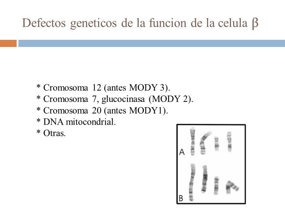 * Cromosoma 12 (antes MODY 3). * Cromosoma 7, glucocinasa (MODY 2). * Cromosoma 20 (antes MODY1). * DNA mitocondrial. * Otras. Defectos geneticos de l