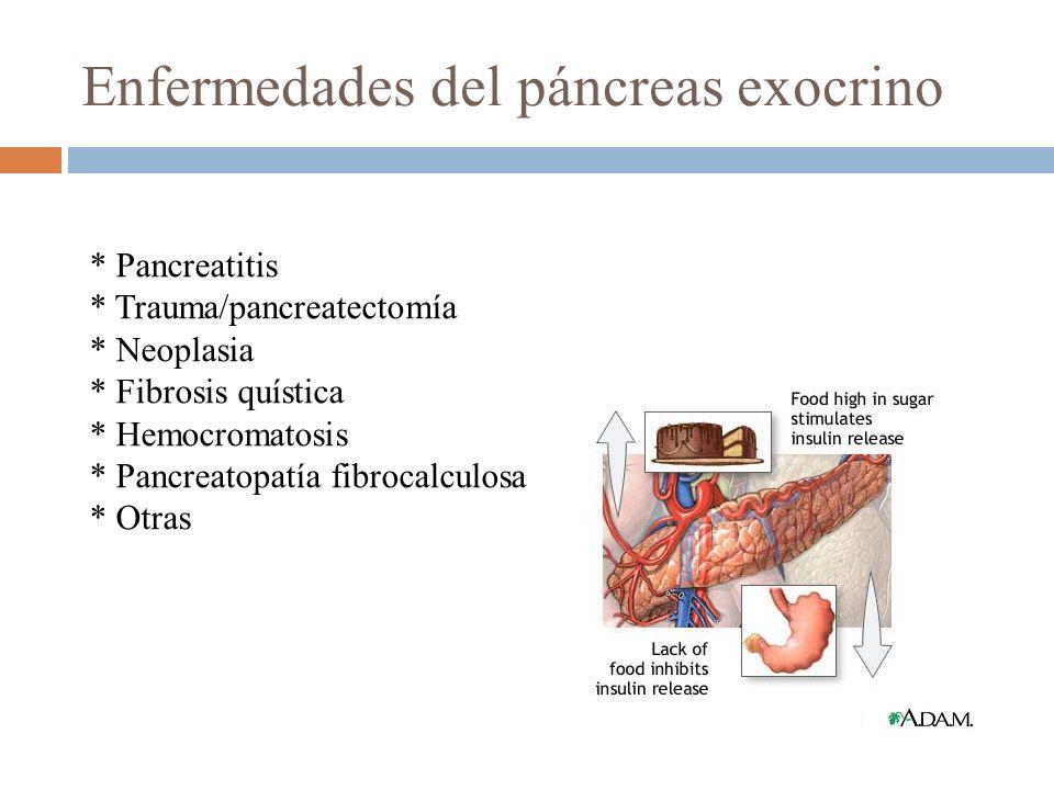 * Pancreatitis * Trauma/pancreatectomía * Neoplasia * Fibrosis quística * Hemocromatosis * Pancreatopatía fibrocalculosa * Otras Enfermedades del pánc