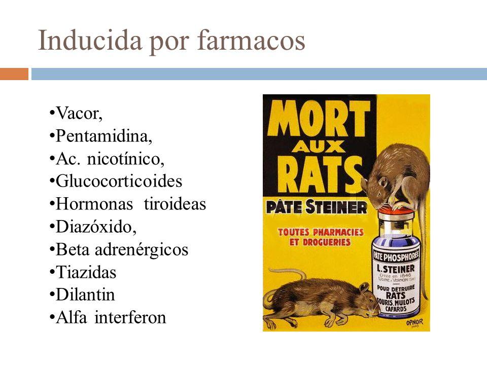 Vacor, Pentamidina, Ac. nicotínico, Glucocorticoides Hormonas tiroideas Diazóxido, Beta adrenérgicos Tiazidas Dilantin Alfa interferon Inducida por fa