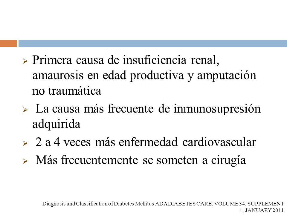 Primera causa de insuficiencia renal, amaurosis en edad productiva y amputación no traumática La causa más frecuente de inmunosupresión adquirida 2 a