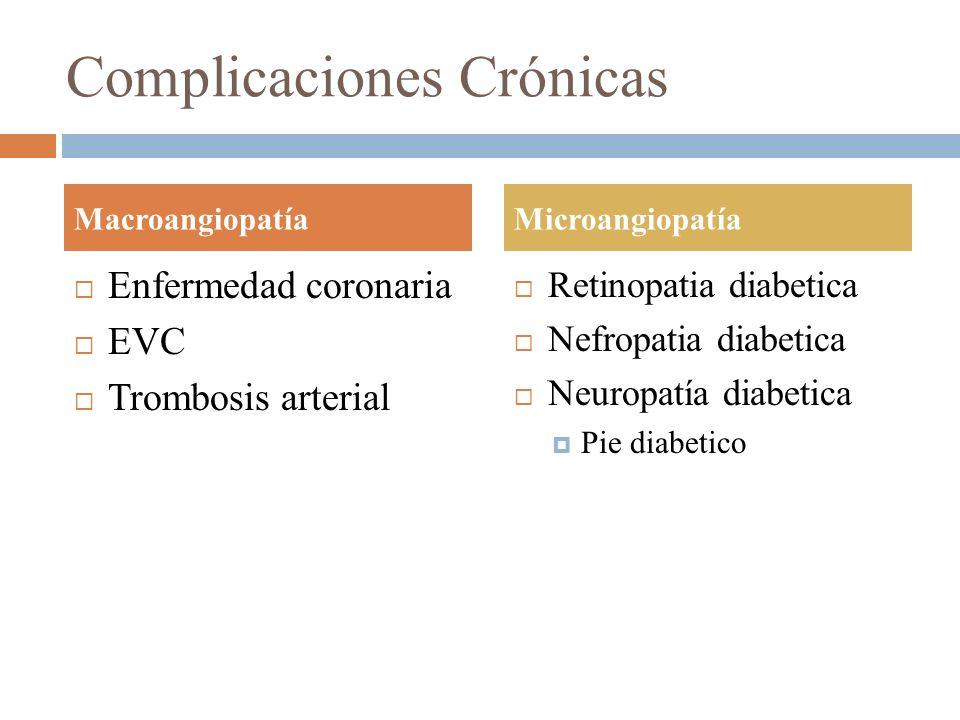 Complicaciones Crónicas Enfermedad coronaria EVC Trombosis arterial Retinopatia diabetica Nefropatia diabetica Neuropatía diabetica Pie diabetico Macr