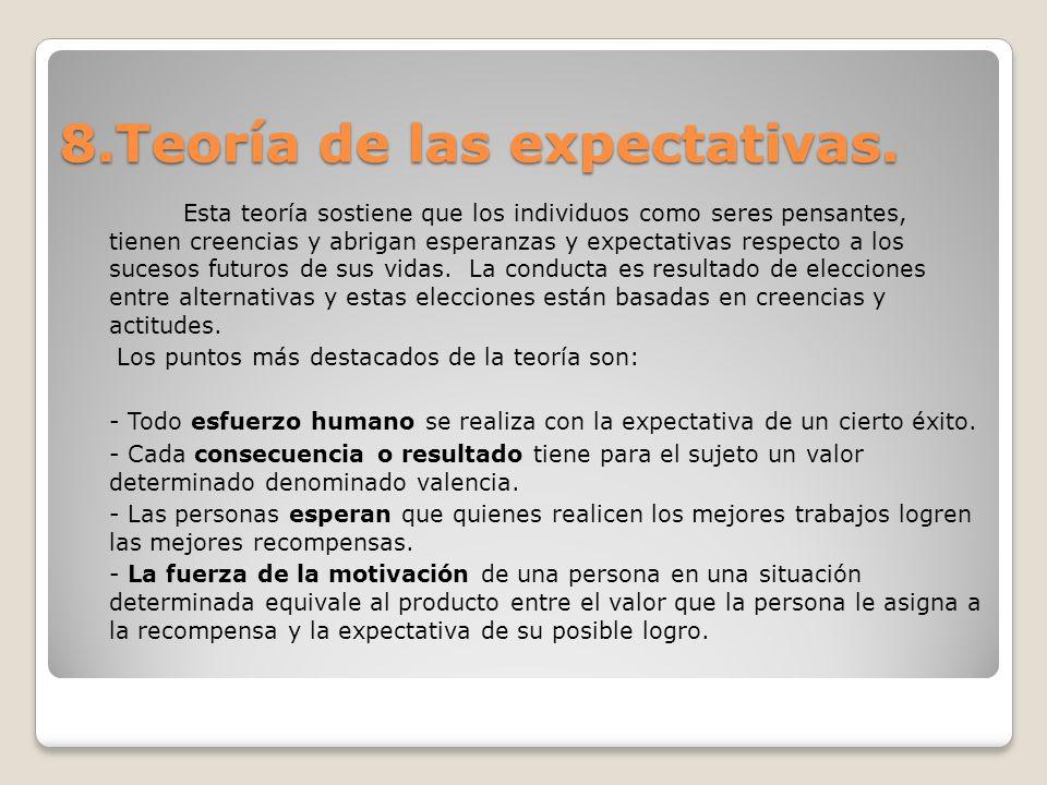 8.Teoría de las expectativas. Esta teoría sostiene que los individuos como seres pensantes, tienen creencias y abrigan esperanzas y expectativas respe