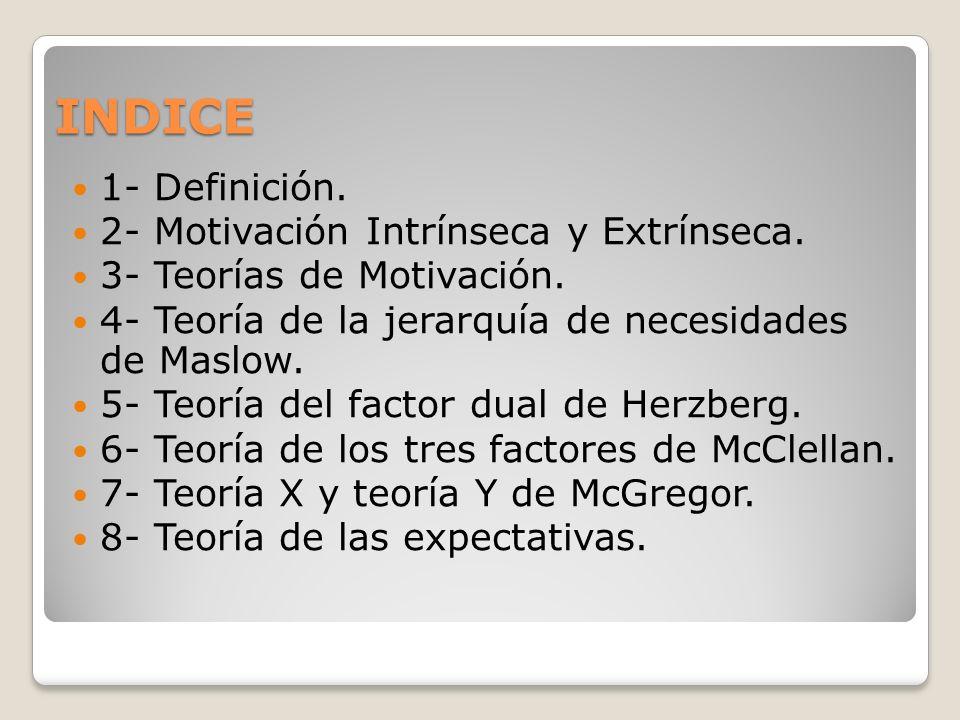 INDICE 1- Definición. 2- Motivación Intrínseca y Extrínseca. 3- Teorías de Motivación. 4- Teoría de la jerarquía de necesidades de Maslow. 5- Teoría d