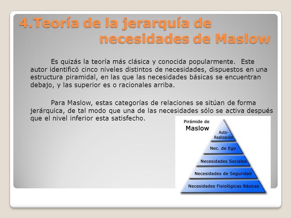 4.Teoría de la jerarquía de necesidades de Maslow Es quizás la teoría más clásica y conocida popularmente. Este autor identificó cinco niveles distint