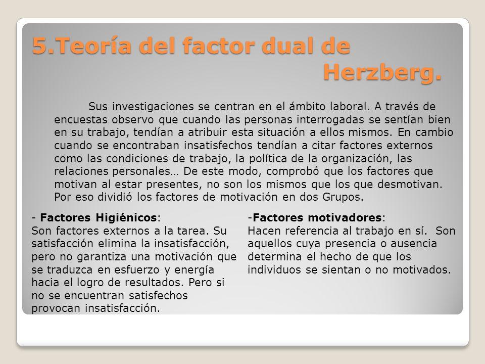 5.Teoría del factor dual de Herzberg. Sus investigaciones se centran en el ámbito laboral. A través de encuestas observo que cuando las personas inter