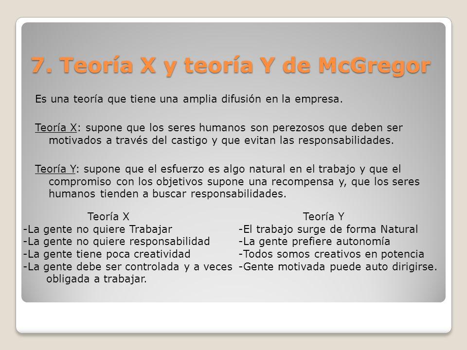 7. Teoría X y teoría Y de McGregor Es una teoría que tiene una amplia difusión en la empresa. Teoría X: supone que los seres humanos son perezosos que