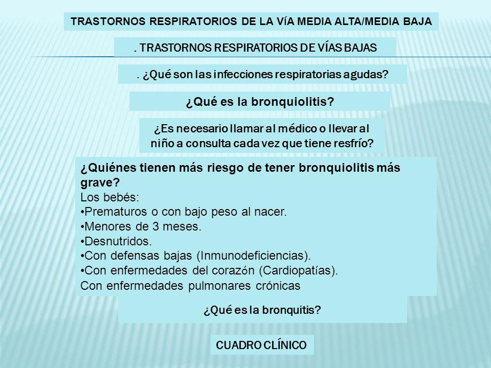 TRASTORNOS RESPIRATORIOS DE LA V Í A MEDIA ALTA/MEDIA BAJA. TRASTORNOS RESPIRATORIOS DE VÍAS BAJAS. ¿Qué son las infecciones respiratorias agudas? ¿Qu