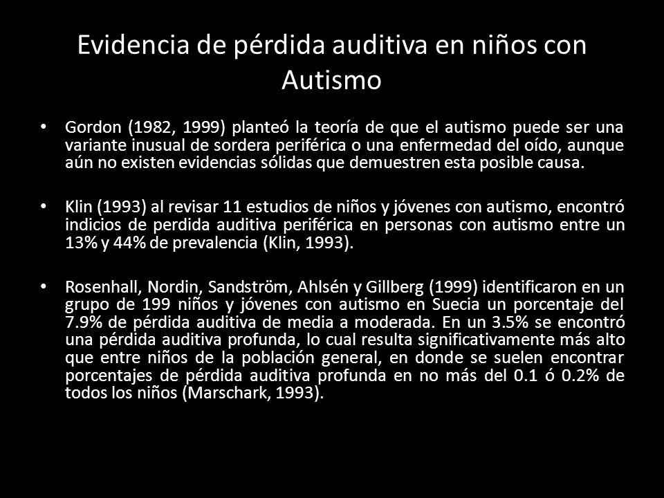 Evidencia de pérdida auditiva en niños con Autismo Gordon (1982, 1999) planteó la teoría de que el autismo puede ser una variante inusual de sordera p