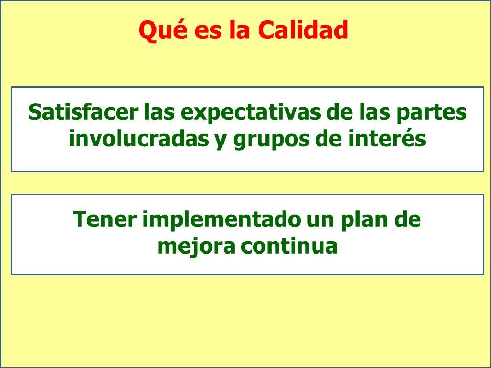 Qué es la Calidad Satisfacer las expectativas de las partes involucradas y grupos de interés Tener implementado un plan de mejora continua