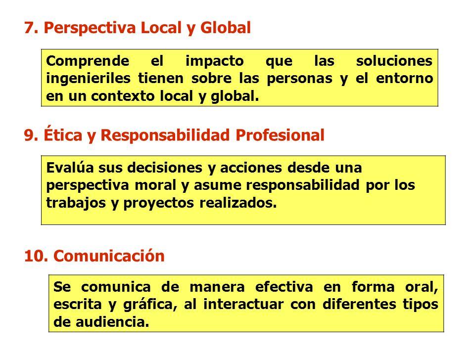 7. Perspectiva Local y Global Comprende el impacto que las soluciones ingenieriles tienen sobre las personas y el entorno en un contexto local y globa