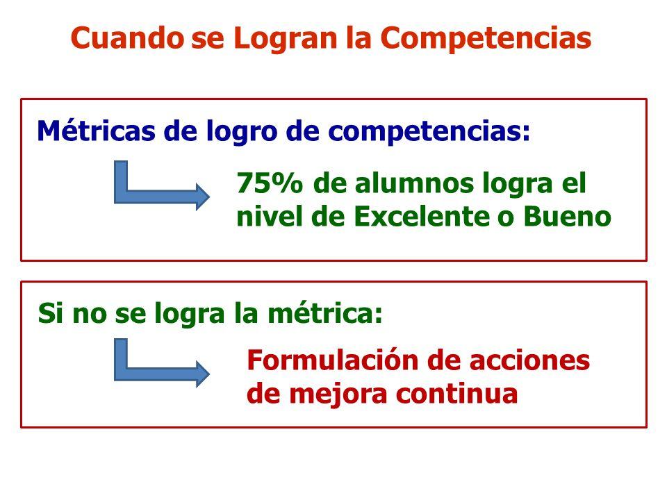 Cuando se Logran la Competencias Métricas de logro de competencias: 75% de alumnos logra el nivel de Excelente o Bueno Si no se logra la métrica: Form