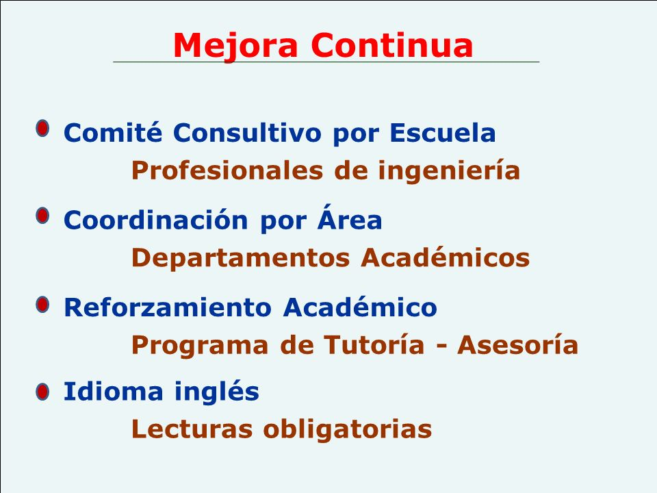 Mejora Continua Coordinación por Área Departamentos Académicos Reforzamiento Académico Programa de Tutoría - Asesoría Comité Consultivo por Escuela Pr