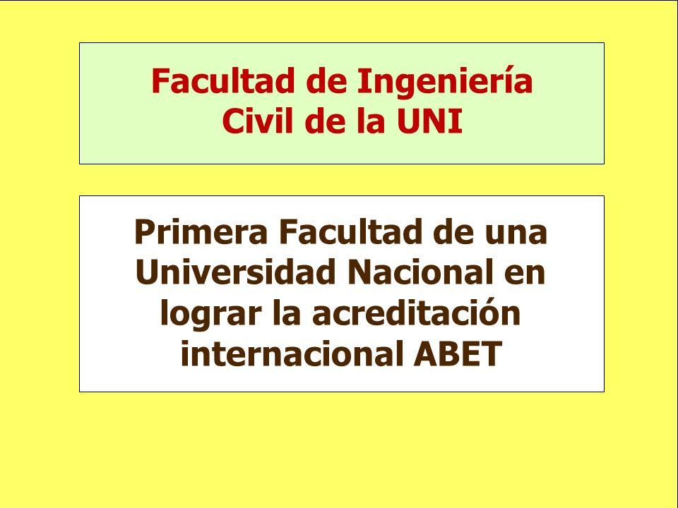 Facultad de Ingeniería Civil de la UNI Primera Facultad de una Universidad Nacional en lograr la acreditación internacional ABET