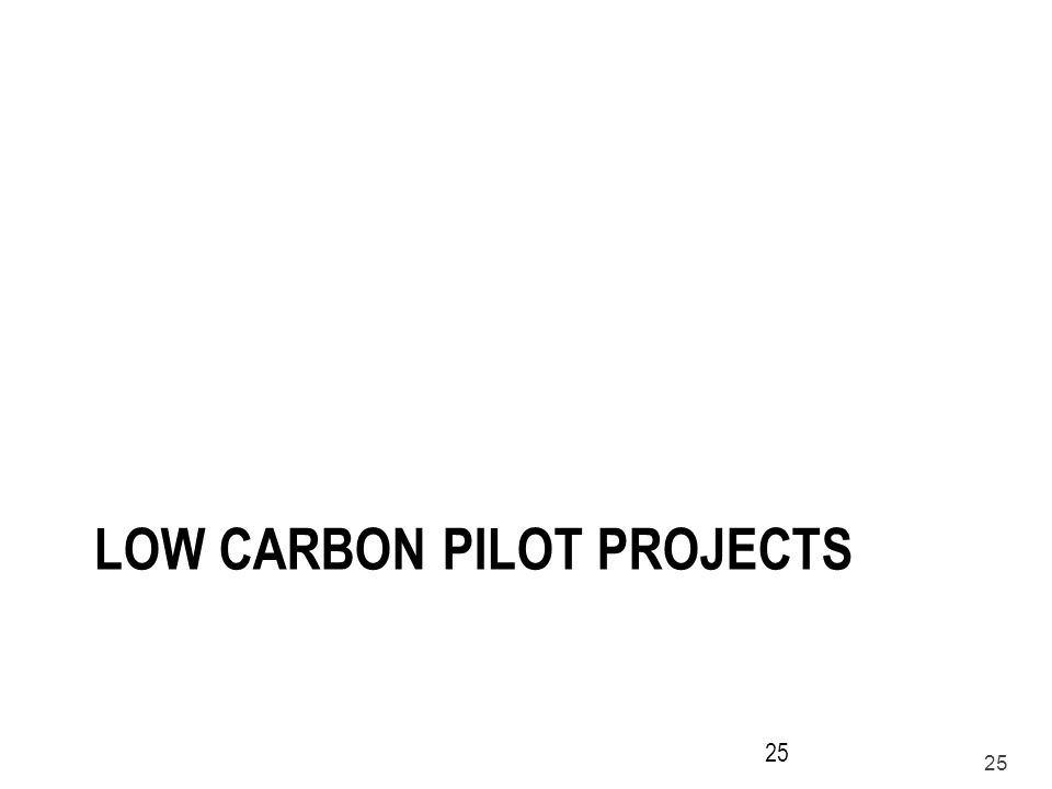25 LOW CARBON PILOT PROJECTS 25