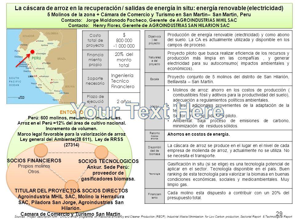 29 La cáscara de arroz en la recuperación / salidas de energía in situ: energía renovable (electricidad) 5 Molinos de la zona + Cámara de Comercio y T