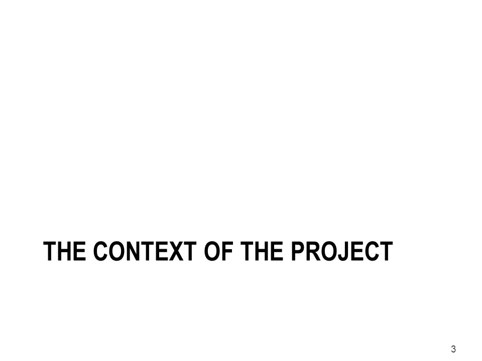 3 THE CONTEXT OF THE PROJECT