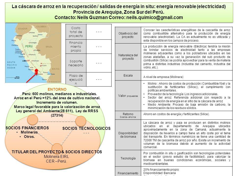 31 La cáscara de arroz en la recuperación / salidas de energía in situ: energía renovable (electricidad) Provincia de Arequipa, Zona Sur del Perú. Con