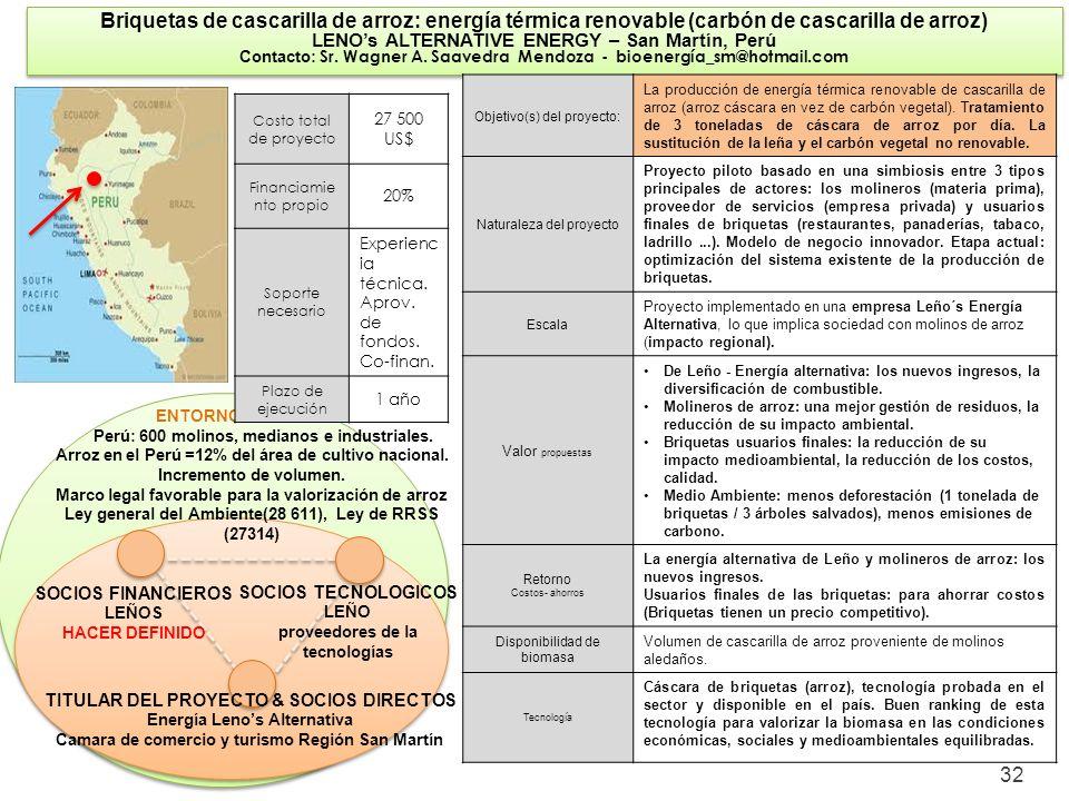 32 Briquetas de cascarilla de arroz: energía térmica renovable (carbón de cascarilla de arroz) LENOs ALTERNATIVE ENERGY – San Martín, Perú Contacto: S
