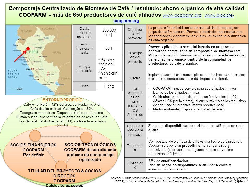 35 Compostaje Centralizado de Biomasa de Café / resultado: abono orgánico de alta calidad COOPARM - más de 650 productores de café afiliados www.ccopa