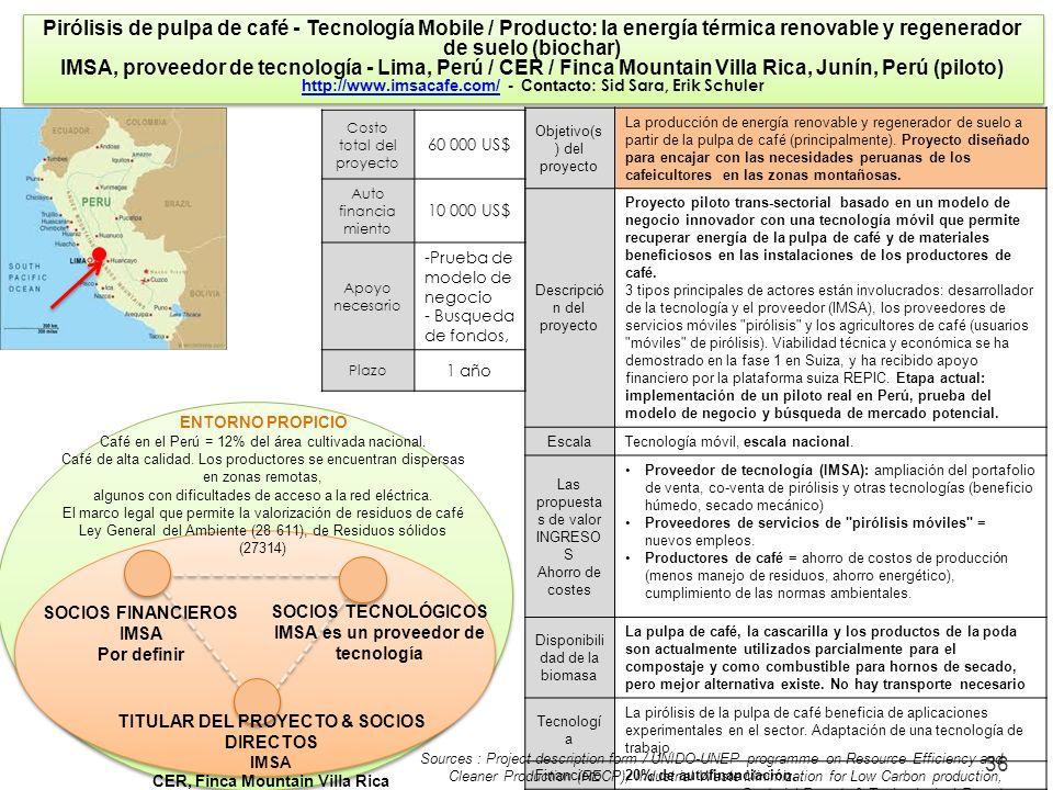 36 Pirólisis de pulpa de café - Tecnología Mobile / Producto: la energía térmica renovable y regenerador de suelo (biochar) IMSA, proveedor de tecnolo