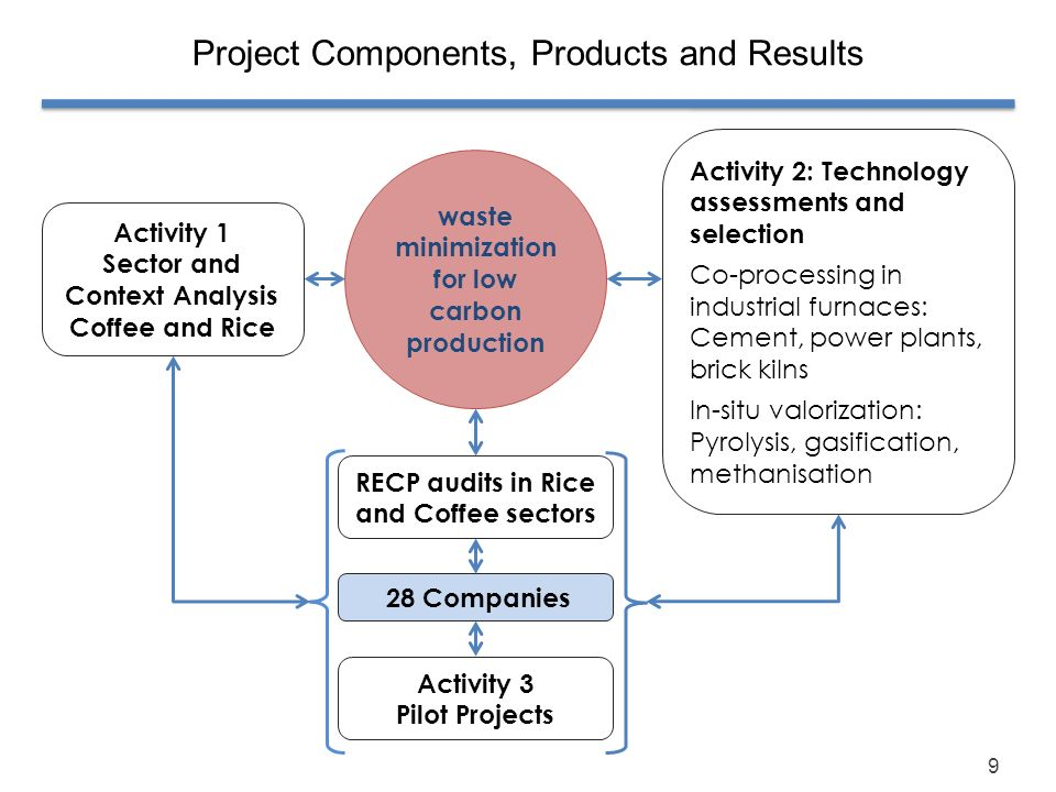 9 Project Components, Products and Results waste minimization for low carbon production Activity 1 Sector and Context Analysis Coffee and Rice Activit