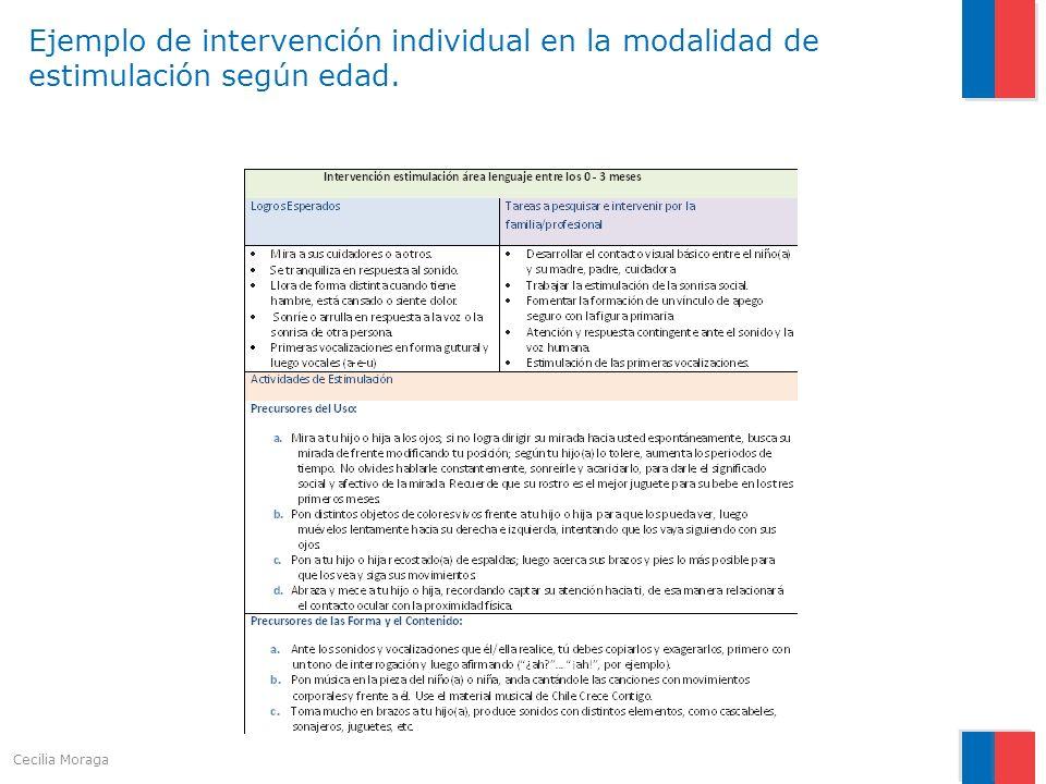 Ejemplo de intervención individual en la modalidad de estimulación según edad. Cecilia Moraga