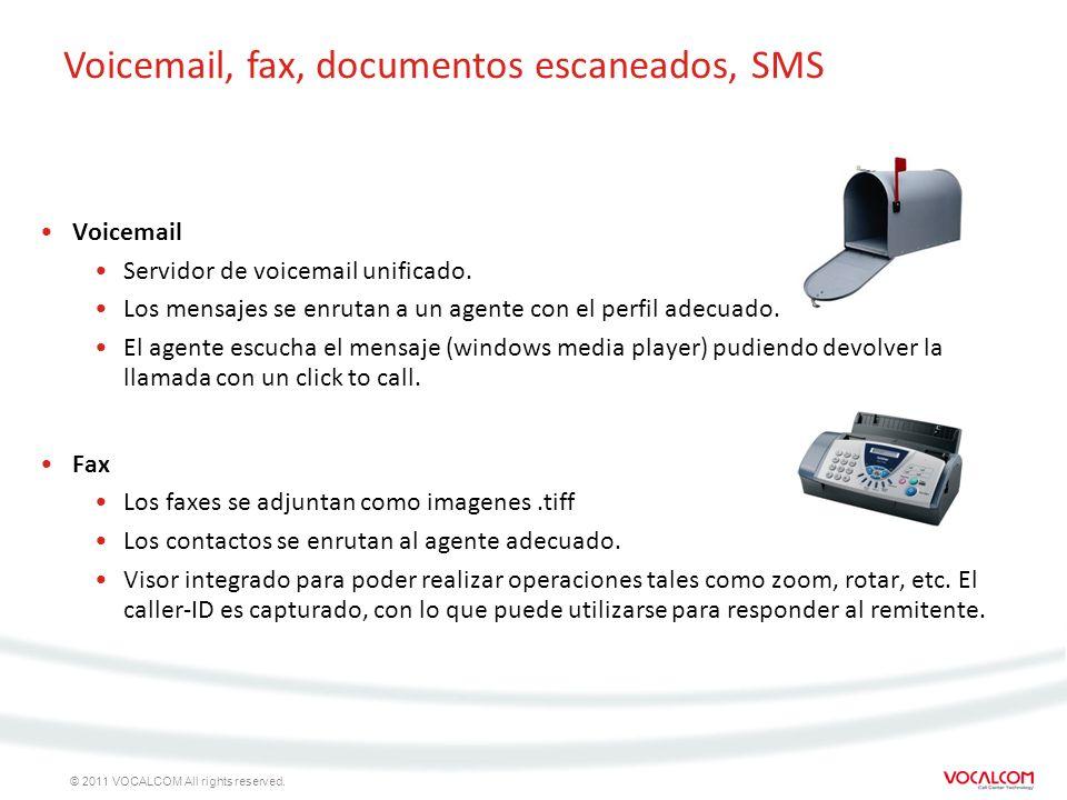 © 2011 VOCALCOM All rights reserved. Voicemail Servidor de voicemail unificado. Los mensajes se enrutan a un agente con el perfil adecuado. El agente