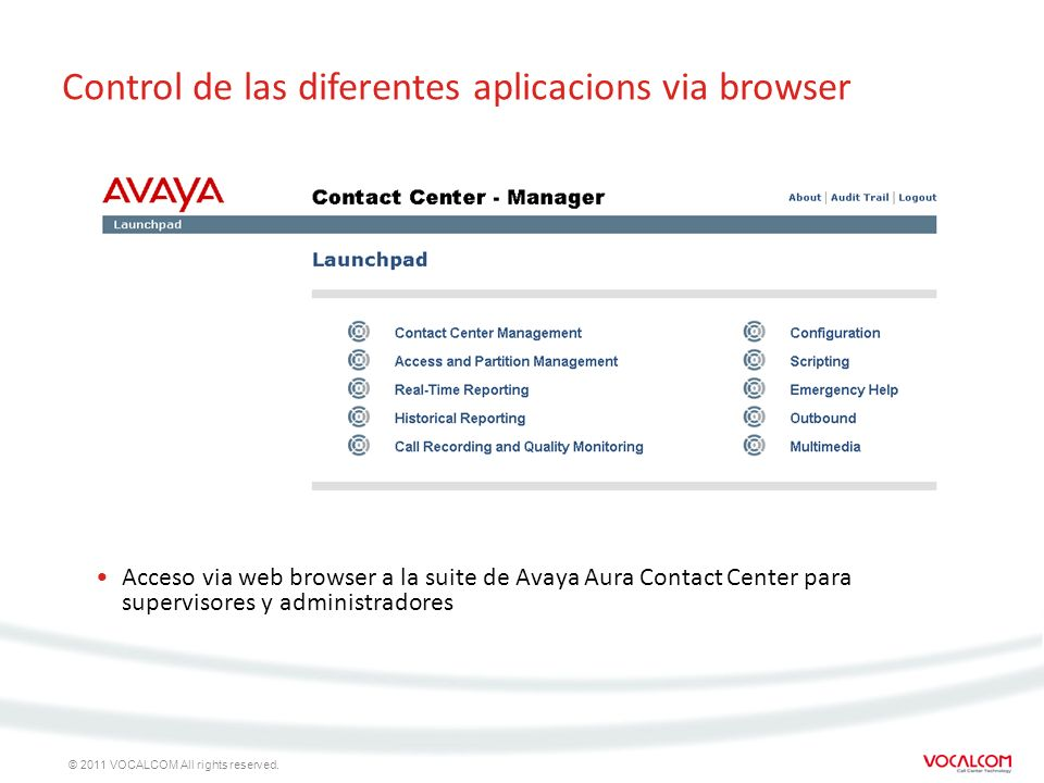 © 2011 VOCALCOM All rights reserved. Control de las diferentes aplicacions via browser Acceso via web browser a la suite de Avaya Aura Contact Center