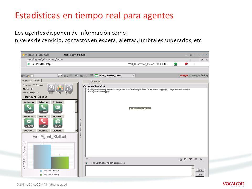 © 2011 VOCALCOM All rights reserved. Estadísticas en tiempo real para agentes Los agentes disponen de información como: niveles de servicio, contactos