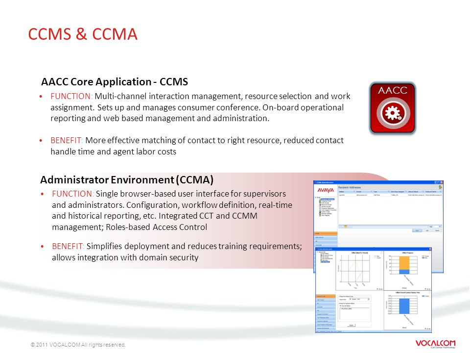© 2011 VOCALCOM All rights reserved. CCMS & CCMA FUNCTION: Multi-channel interaction management, resource selection and work assignment. Sets up and m