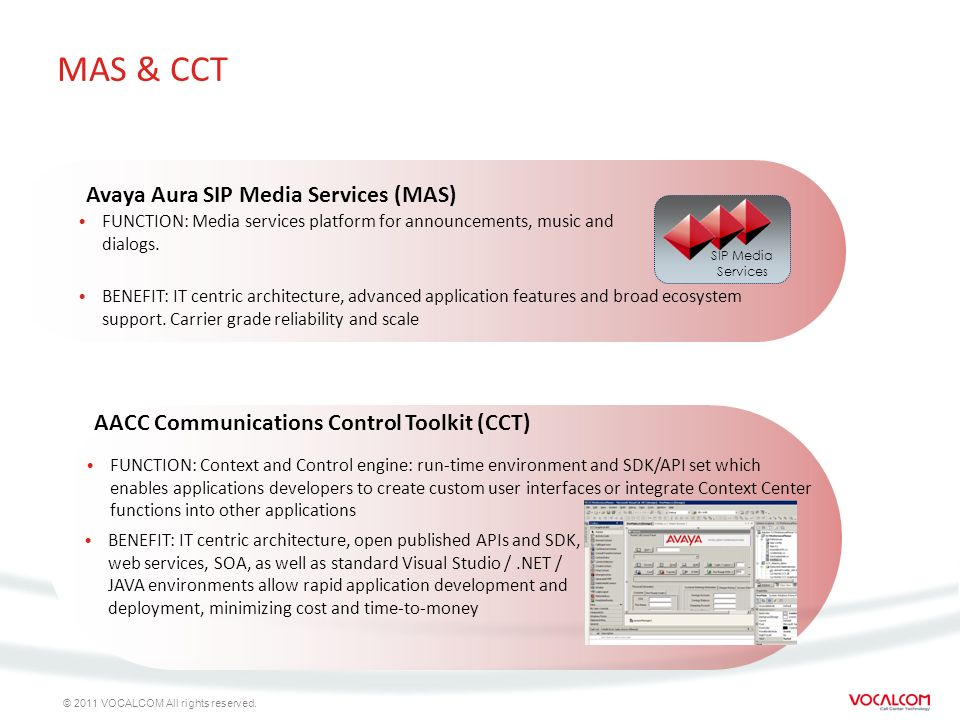© 2011 VOCALCOM All rights reserved. MAS & CCT FUNCTION: Media services platform for announcements, music and dialogs. Avaya Aura SIP Media Services (
