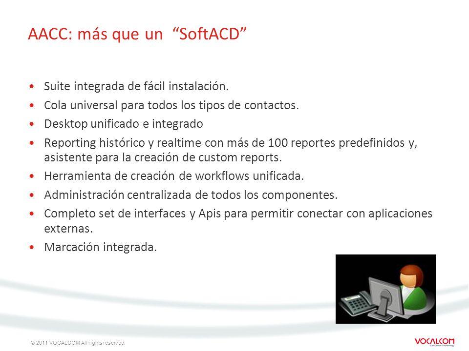 © 2011 VOCALCOM All rights reserved. AACC: más que un SoftACD Suite integrada de fácil instalación. Cola universal para todos los tipos de contactos.