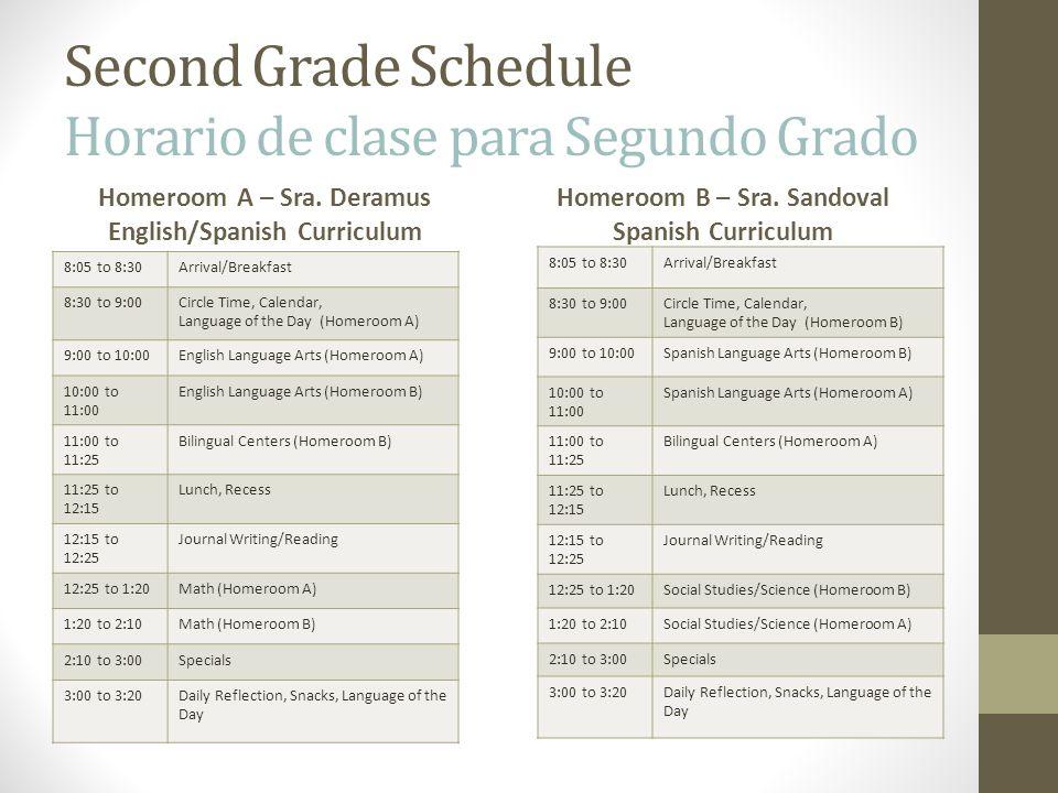 Second Grade Schedule Horario de clase para Segundo Grado Homeroom A – Sra. Deramus English/Spanish Curriculum 8:05 to 8:30Arrival/Breakfast 8:30 to 9