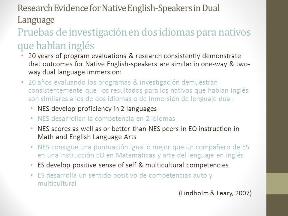Research Evidence for Native English-Speakers in Dual Language Pruebas de investigación en dos idiomas para nativos que hablan inglés 20 years of prog