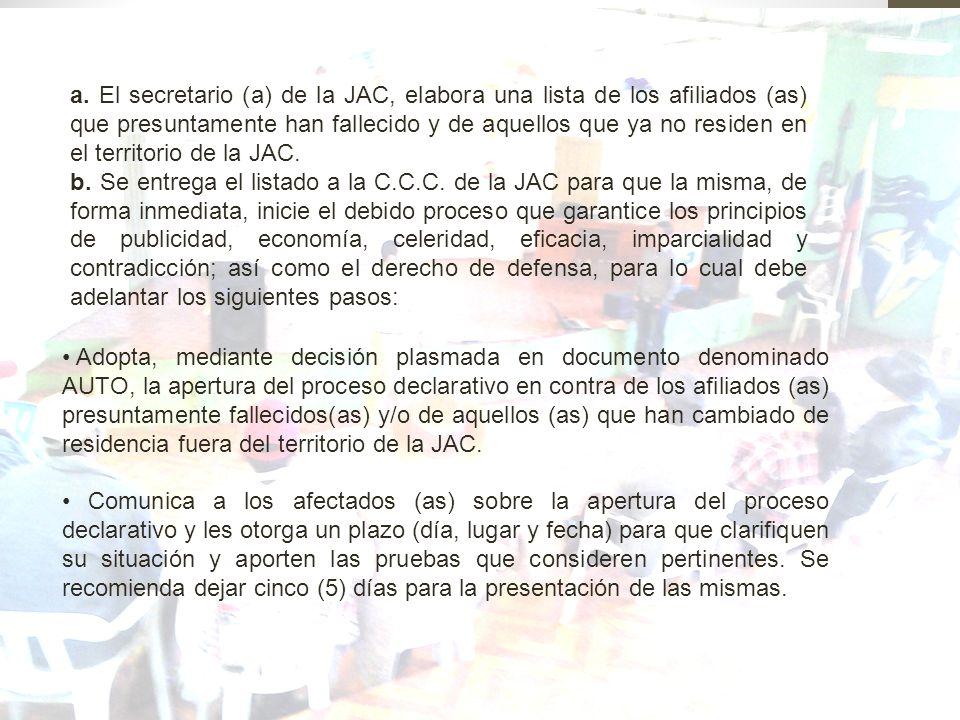 a. El secretario (a) de la JAC, elabora una lista de los afiliados (as) que presuntamente han fallecido y de aquellos que ya no residen en el territor