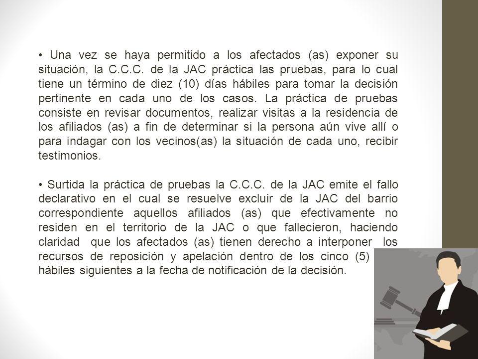 Una vez se haya permitido a los afectados (as) exponer su situación, la C.C.C. de la JAC práctica las pruebas, para lo cual tiene un término de diez (
