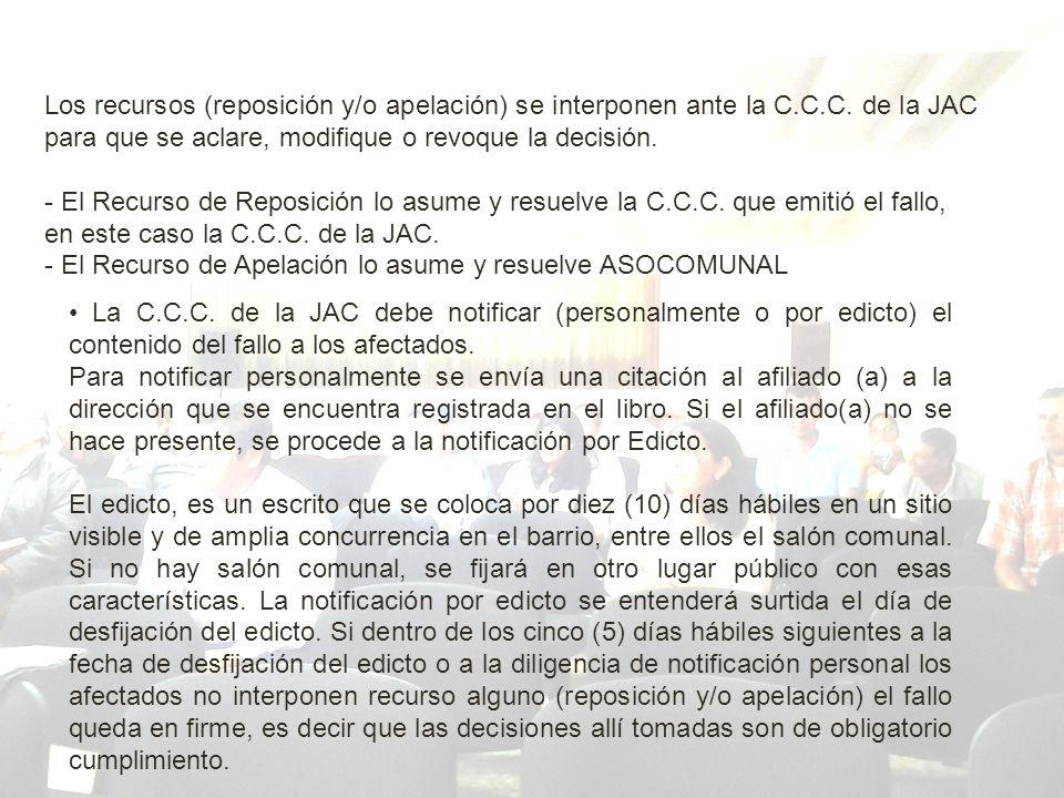 Los recursos (reposición y/o apelación) se interponen ante la C.C.C.