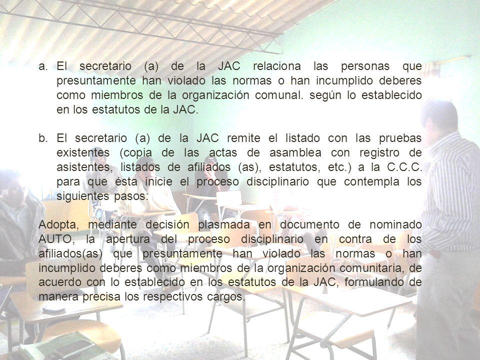 a.El secretario (a) de la JAC relaciona las personas que presuntamente han violado las normas o han incumplido deberes como miembros de la organizació